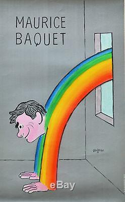 Affiche originale ancienne entoilée MAURICE BAQUET par SAVIGNAC
