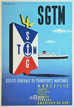 Affiche originale années 60 entoilée SGTM Marseille Algérie Amérique sud