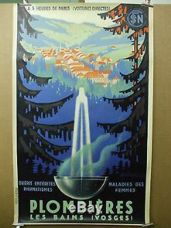 Affiche originale art deco Plombieres Senechal 1939