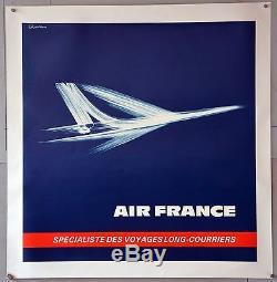 Affiche originale de 1971 entoilée. AIR FRANCE Le CONCORDE par EXCOFFON