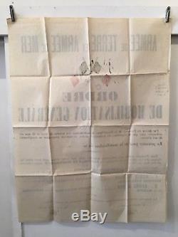 Affiche originale de l'ordre de mobilisation générale du 02 août 1914