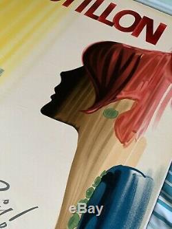 Affiche originale entoilée Vin de Paris POSTILLON Alain Gauthier
