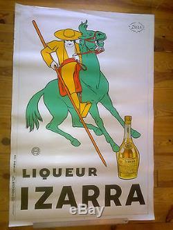 Affiche originale liqueur Izarra fond blanc 1934