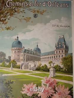 Affiche originale lithographiée 1898, Chemins de fer d'Orléans TOURAINE & BERRY