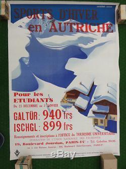 Affiche originale, sports d'hiver AUTRICHE ski neigne