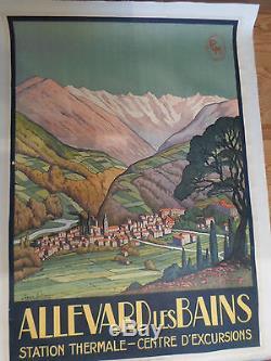 Affiche originale vintage PLM ALLEVARD LES BAINS Jean Julien thermale