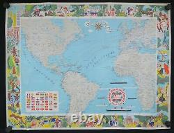 Affiche planisphère COMPAGNIE TRANSATLANTIQUE CGT 1972 par Edouard Colin