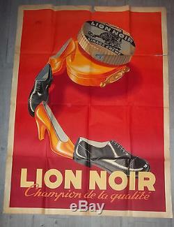 Affiche publicitaire LION NOIR Cirage chaussures vêtements boîte collection RARE
