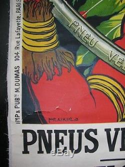 Affiche publicitaire Pneu vélo MICHELIN Fraikin 1908 INDIEN Gannat