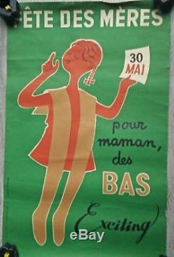Affiche publicitaire ancienne Bas exciting Jacques Lavaux