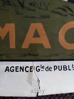 Affiche publicitaire ancienne CYCLES VULCAIN Gauthier Macon Vélo Cyclisme Poster