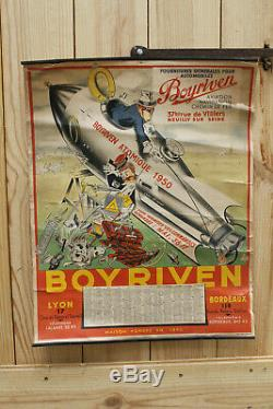 Affiche publicitaire calendrier pieces automobiles, garage, bidon huile