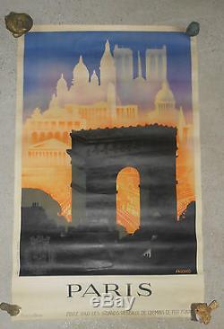 Affiche publicitaire chemins de fer français Paris Falcucci arc de triomphe