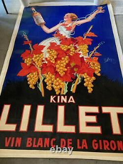 Affiche stentor entoilée thème kina Lillet de Robby, bon état 133 x200