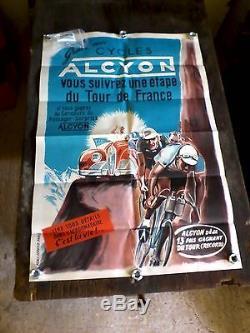 Affiche vélo Alcyon tour de france 1950 no plaque émaillée