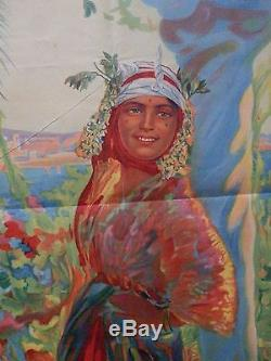 Affiche vintage algerie hivernage DELLEPIANE tourisme d'epoque