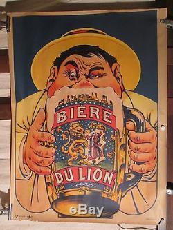 Afficheancienne Biere Du Lion Gros Bonhomme Oge