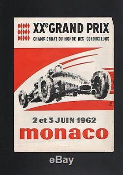 Affichette 20éme Grand Prix de Monaco 2 et 3 juin 1962 signé M. Trublin