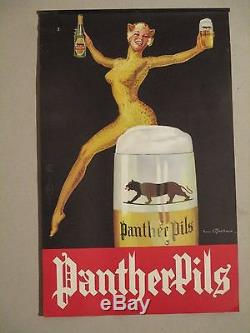 Affichette Ancienne Biere Femme Panthere