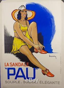 Affichette Lithographique 1930 SANDALE PAU par L. Dupin entoile TBE