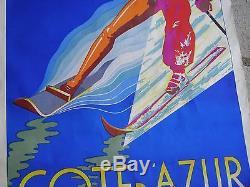 Ancienne AFFICHE Cote d' Azur CORSE Ski nautique montagne 100 X 62.5 Studio FER