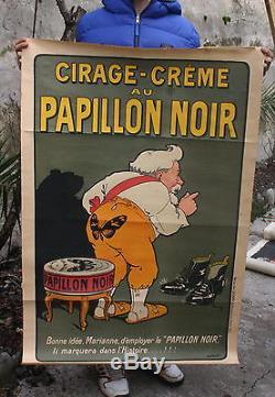 Ancienne AFFICHE PUBLICITE c. 1890 CIRAGE CREME au PAPILLON NOIR par LOCHARD