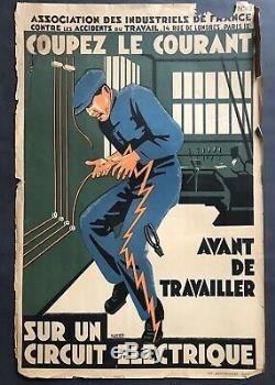 Ancienne Affiche Art Déco ca. 1935 COUPEZ LE COURANT signée Olivier rare