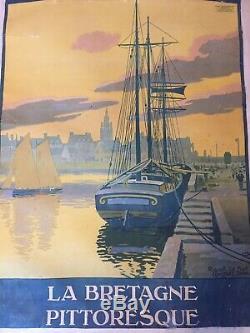 Ancienne Affiche Constant Duval Roscoff Le Port Bretagne Pittoresque