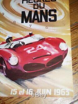 Ancienne Affiche Des 24 Heures Du Mans 1963 Original Poster 24 Hours 1963