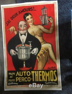 Ancienne Affiche Entoilee Auto Thermos Paul Mohr Josephine Baker
