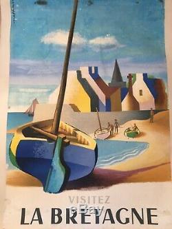 Ancienne Affiche Entoilée Bretagne 1956 Nathan Garamond
