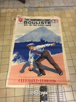 Ancienne Affiche France Bouliste Boule Longue 1943 Pétanque Setto Clermont