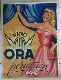 Ancienne Affiche Ora Radio Tsf Par Arestein Annees 40