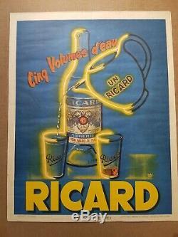 Ancienne Affiche Originale Bistrot Pastis Un Ricard 5 Volumes D'eau Ermhel 1950