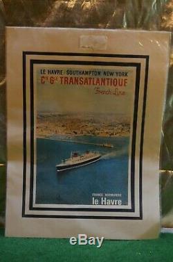 Ancienne Affiche Paquebot Le France Normandie Le Havre Southampton New York