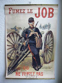 Ancienne Affiche Publicitaire Chromo Lithographiee Tabac Bistrot Fumez Le Job