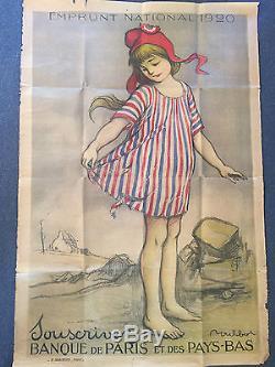 Ancienne Affiche Publicitaire Militaria Emprunt National 1920 Signée Poulbot