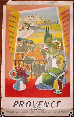 Ancienne Affiche Publicitaire S. N. C. F. Provence, Jal, 1954