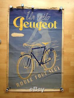 Ancienne Affiche Publicitaire un Vélo PEUGEOT roule tout seul. LOURDIN 1950