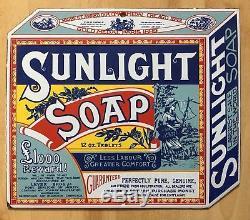 Ancienne Plaque émaillée publicitaire pour la marque Sunlight Soap