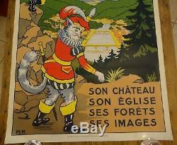Ancienne affiche Chemin de fer de l'Est Epinal Vosges Chat botté Bottes 7 lieues