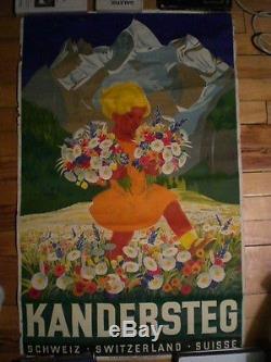 Ancienne affiche Kandersteg, Carl Moos, 1930, Vintage poster
