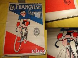 Ancienne affiche La Française Diamant, vélo, signé Mich, Louison Bobet, 60x40cm