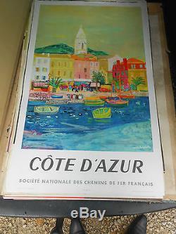 Ancienne affiche chemin de fer francaise cote d azur 1956