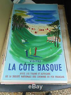 Ancienne affiche chemin de fer francaise la cote basque 1957