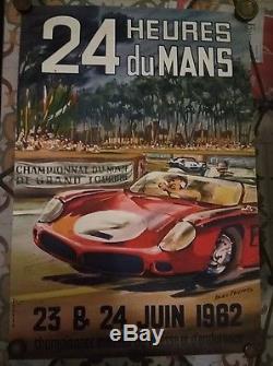 Ancienne affiche originale automobile 24 heures du Mans juin 1962 Beligond