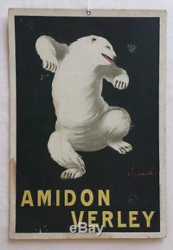 Ancienne carton publicitaire Amidon VERLEY Leonetto CAPPIELLO ours polaire