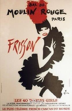 BAL DU MOULIN ROUGE FRISSON Affiche originale entoilée GRUAU 1965 44x65cm