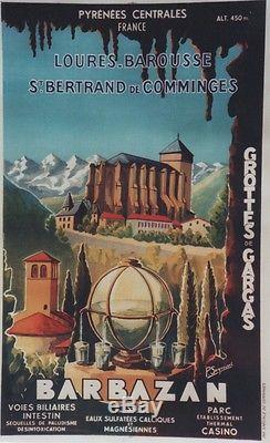 BARBAZAN / PYRENEES Affiche originale litho entoilée P. SEIGNOURET 68x105cm