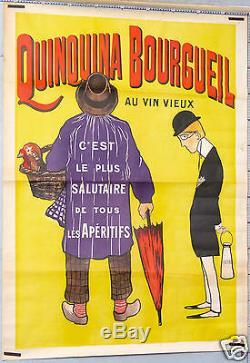 BIAIS AFFICHE ANCIENNE ci 1900-20' QUINQUINA BOURGUEIL AU VIN VIEUX